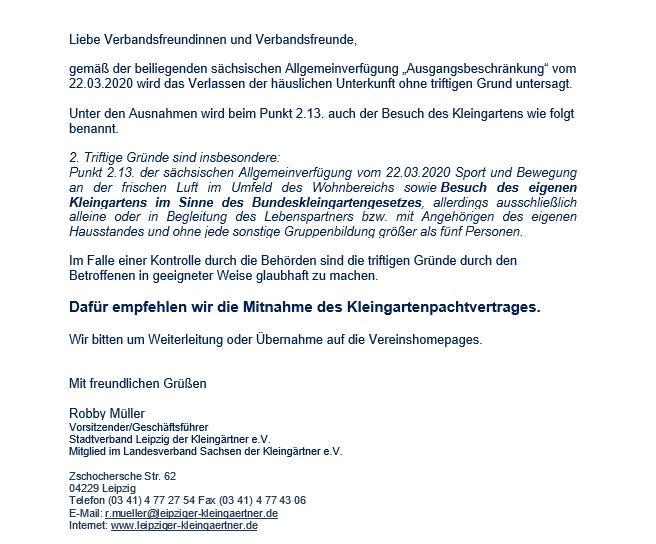 Kopie eines Schreibens des Stadtverbandes Leipzig der Kleingärtner